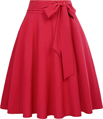 Belle Poque 50s Style Pleated Swing Skirt for Tea Party Cocktail with Pockets Red(561-14) Large