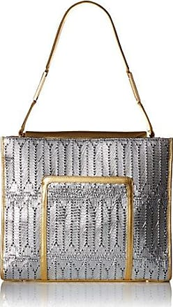 6a8a1900b220 Luana Italy Womens Margherita Large N S Tote Silver Mesh and Gold Leather  Handbag