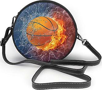 Turfed Basketball Flames and Waterdrops Print Fashion Round PU Crossbody Handbag Round Shoulder Bag For Women Girls