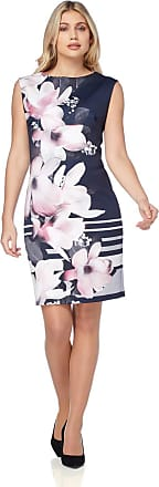 Roman Originals Women Floral Print Bodycon Stretch Scuba Dress - Ladies Summer Wedding Guest Mother of The Bride Groom Knee Length Fashion Outfit Clothing - Navy - Si