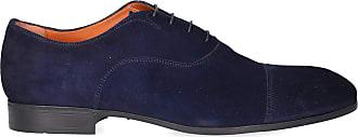 Santoni Business Shoes Oxford 11011 suede Logo blue