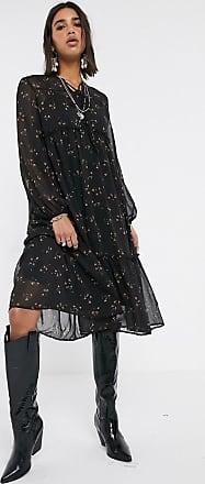 Object midi smock dress in black ditsy floral-Green