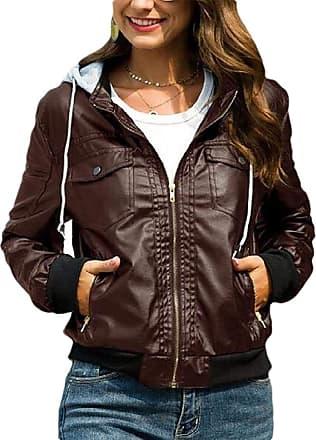 VITryst Women Hooded Casual Faux Leather Moto Biker Short Jacket Coat,Coffee,XX-Large