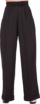 Banned Hidden Away High Waist Retro 40s 50s Office Formal Pants Wide Trousers - Black (XL/34/UK 16)