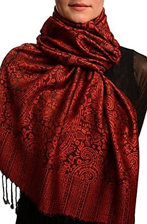 Schal Rot Scarf Einheitsgroesse Mirrored Paisley On Burgundy Red Pashmina Feel With Tassels 70cm x 180cm