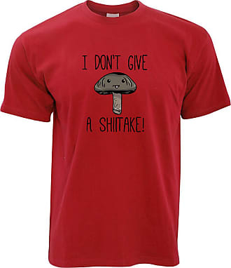 Tim And Ted Novelty Vegan T Shirt I Dont Give A Shiitake Rude Pun - (Red/XXXXX-Large)