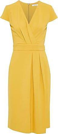 Max Mara Max Mara Woman Feluca Wrap-effect Pleated Stretch-cady Dress Saffron Size 40
