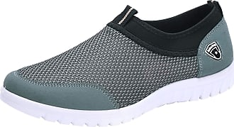 Jamron Mens Casual Slip-on Breathable Mesh Multisport Trainers Fitness Shoes Grey SN01063 UK7