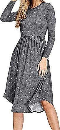 6f708f23d72e28 Yidarton Damen Punkte Kleid Damen Langärm Tasche Kleid Midi Kleid Damen  Rundhals Retro Rockabilly Kleid Casual