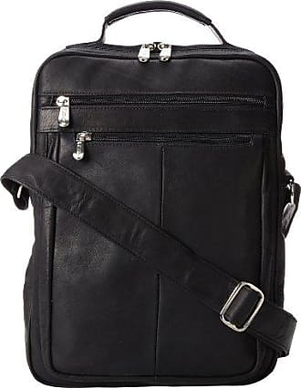 Piel Leather Laptop Shoulder Bag, Black, One Size