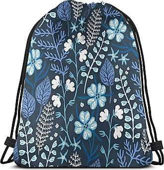 Blue Retro Floral Pattern Gym Bag