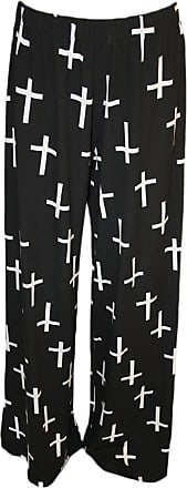 WearAll Plus Size Womens Palazzo Wide Leg Flared Trousers Ladies Print Pants - Black Cross - 12/14