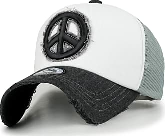 Ililily Peace Symbol Embroidery Distressed Trucker Hat Cotton Baseball Cap, White, Medium