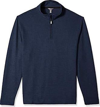 Van Heusen Mens Flex Long Sleeve 1/4 Zip Ottoman Solid Shirt, Blue Underground, Large