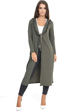 Top Fashion18 Ladies Plus Size Long Sleeved Frill Neck Knot Duster Dress Jacket Coat Size 8-24 Khaki