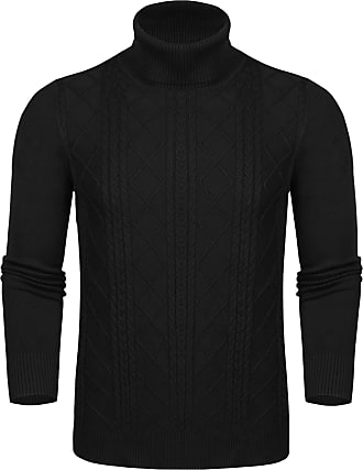 Aibrou Unisex Pullover Jumper, Solid Lightweight Soft Stretchy Long Sleeve Knitwear Turtleneck Jumper Sweater with Retro Classic Diamond Stripe(Black Men L
