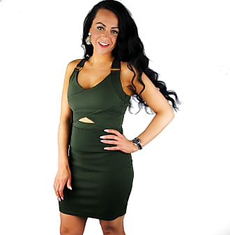River Island Khaki Green Bodycon Dress 8-14 (10)