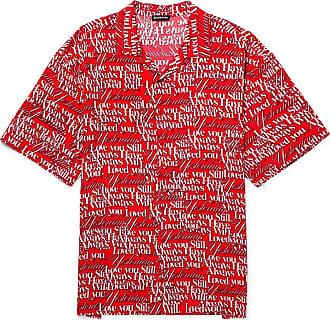 Balenciaga Oversized Camp-collar Printed Satin Shirt - Red