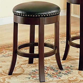 Coaster Fine Furniture 24 Swivel Counter Stools with Upholstered Seat Walnut and Dark Brown (Set of 2)