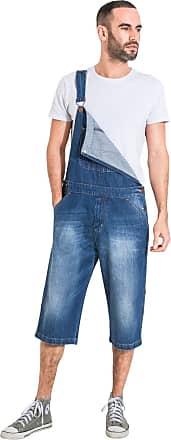 bd95d9d7 Uskees Mens Denim Dungaree Shorts Loose Fit Bib Overall Shorts  CHRISTOPHERSHORTDENIM-38W