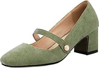 066530839ce1c8 Aiyoumei Damen Geschlossen Mary Jane Pumps mit 6cm Absatz Blockabsatz  Bequem Sommer Schuhe