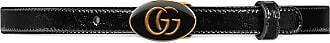 Gucci Leather belt with oval enameled buckle - Black