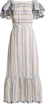 Gül Hürgel Ruffled Sleeve Striped Linen Dress - Womens - Blue Stripe