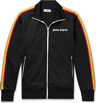 Palm Angels Slim-fit Logo-print Webbing-trimmed Tech-jersey Track Jacket - Black