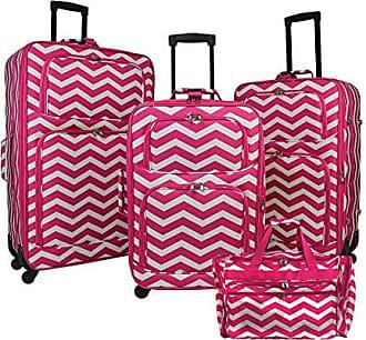 cdba1361d World Traveler 4-Piece Expandable Spinner Luggage Set-Fuchsia White Chevron