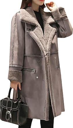 H&E Womens Winter Thicken Lapel Fleece Double Breasted Faux-Suede Long Jacket Parka Coat Grey XL