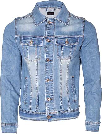 Noroze Mens Washed Denim Trucker Jacket (Blue, XXL)