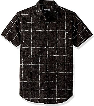 Zoo York Mens Short Sleeve Woven, Grid Black, Large
