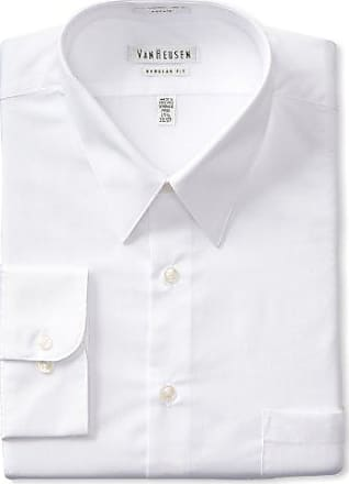Van Heusen Mens Poplin Regular Fit Solid Point Collar Dress Shirt, White, 17.5 Neck 36-37 Sleeve