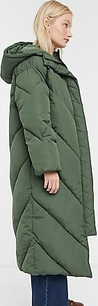 Monki hooded midi puffer coat in khaki-Green