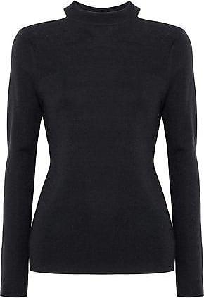 Elie Tahari Elie Tahari Woman Cold-shoulder Merino Wool Sweater Black Size L