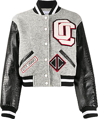 Opening Ceremony contrasting sleeves cropped varsity jacket - Grey