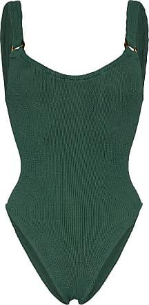 Hunza G Isolde Domino seersucker swimsuit - Verde