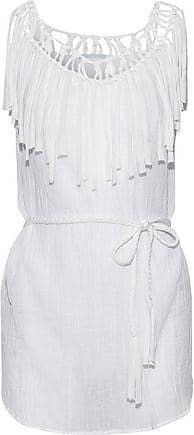 Eberjey Eberjey Woman Fringed Macramé-trimmed Cotton-gauze Coverup White Size S/M