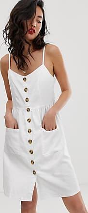 NA-KD Na-kd - Weißes Leinenkleid mit Knopfleiste vorne