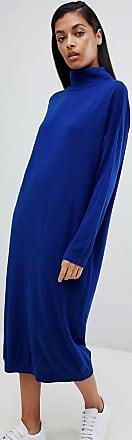 Asos Vestito maglia midi con dolcevita-Blu