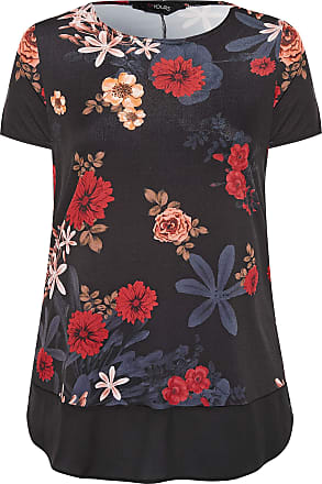 Yours Clothing Clothing Womens Floral Top Plus Size 16-36 Size 30-32 Black