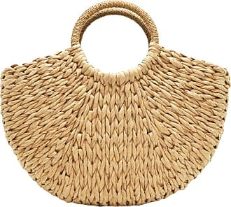 YYW Straw Bag for Women Summer Handwoven Tote Bag Rattan Handbag Boho Style Clutches Shopping Basket for Beach Travel Daily Use (Light yellow)