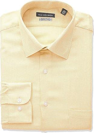 Van Heusen Mens Dress Shirt Regular Fit Micro Houndstooth, Lemon Glaze, 16.5 Neck 34-35 Sleeve