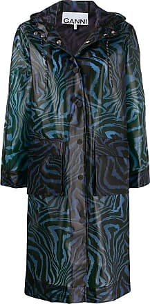 Ganni swirl tiger-print coat - Blue