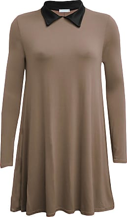 ZEE FASHION New Womens Ladies Long Sleeve Plus Size Peter pan Collar Swing Dress. UK 8-26