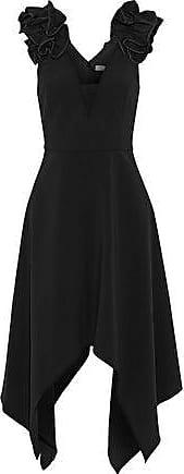 Halston Heritage Halston Heritage Woman Tulle-paneled Ruffled Crepe Dress Black Size 10