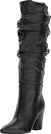 Nine West Womens SCASTIEN Leather Mid Calf Boot, Black, 5 Medium US