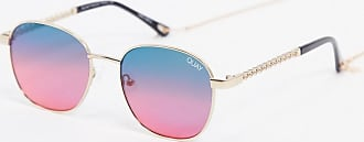 Quay Link Up round sunglasses in gold with multicoloured lens
