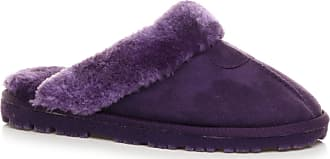 Ajvani Womens Ladies Flat Low Heel Winter Fur Lined Mules Slippers Size 5 38 Purple