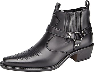 US Brass Mens Eastwood Cowboy Gusset Harness Western Ankle Boots (UK 7, Black)